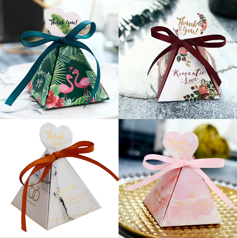 100 X цветы/Фламинго/мраморная треугольная пирамида Свадебные Сувениры Конфеты