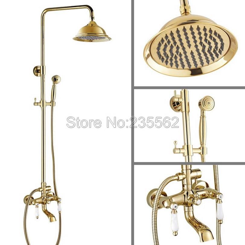 Modern Golden Brass Finish Bathroom Rain Shower Mixer Faucet Dual Ceramic Handle Clawfoot Tub Tap Set Wall Mounted lgf363