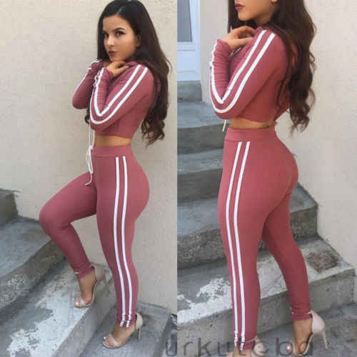 43e5bd07cbc408 ... 2018 Brand New Women Outfit Set Long Sleeve Crop Top Hoodie Leggings  Fitness Workout Sport Wear ...