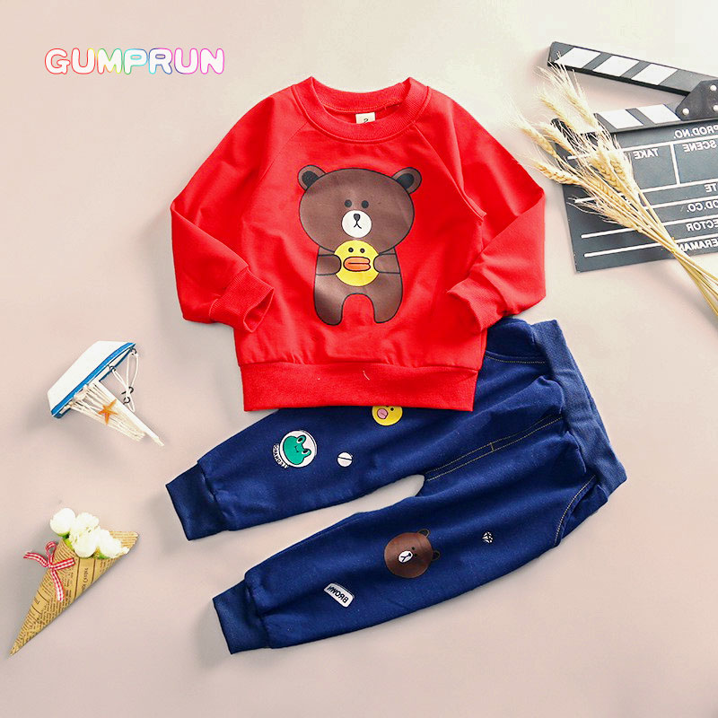 Kids Autumn Clothes Cotton Cartoon Duck Printed Boys T-shirt Set Casual Children Clothing Girl Winter Clothes For Kids fashion baby girl t shirt set cotton heart print shirt hole denim cropped trousers casual polka dot children clothing set