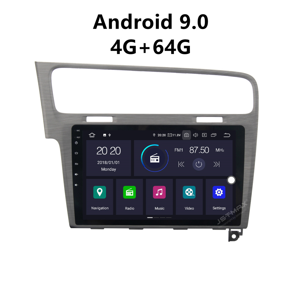JSTMAX 10.2'' Android 9.0 4G + 64G ISP Screen Car DVD Radio Stereo Player For Golf 7 2013 2014 2015 2016 2017  Stereo Multimedia