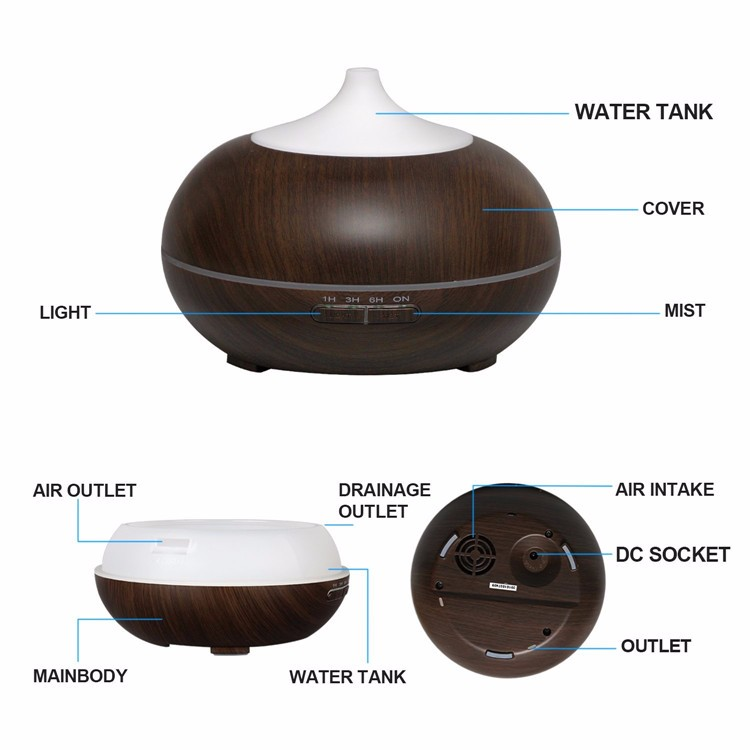 HIMIST 300ML Wood Grain Aroma Diffuser Essential Oil Mist Maker Ultrasonic Air Humidifier Aromatherapy Diffuser for Home Office