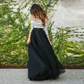Romantic Tutu Skirts Elastic Waist A Line Skirt Faldas S-5XL Tulle Skirts Black Long