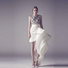 Luxus Couture Kristall Perlen Satin Asymmetrische Rüschen Kurzes Abendkleid Formale Partei Kleid robe de soiree