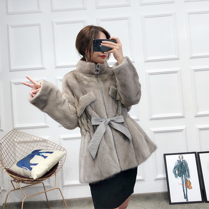 Beige Zipper Importé Nouveau Défaut Vison Manteau L'ensemble gris De Collier Fourrure 2018 Vertical Femmes Col Nn8wv0Om