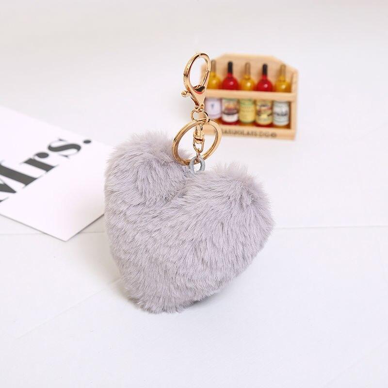 Multicolor 10cm imitatie faux groot hart konijnenbont sleutelhangers - Mode-sieraden - Foto 5