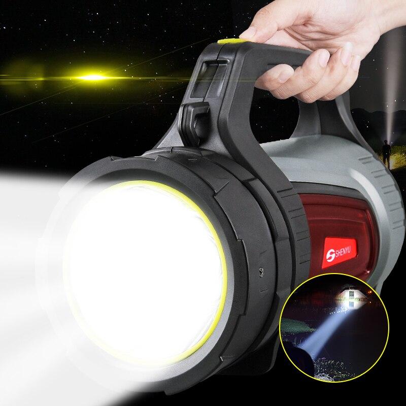 SHENYU 15 w Luminoso Eccellente Esterno Portatile Tenuto in mano USB Torcia Elettrica Ricaricabile Della Torcia Lampada Faro Multi-funzione Campi Lunghi