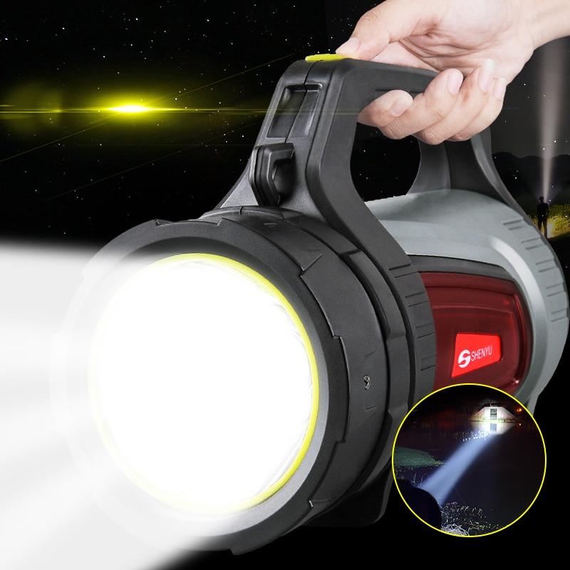 SHENYU 15 w Super Lumineux En Plein Air De Poche Portable USB Rechargeable lampe de Poche Torche Projecteur Multi-fonction Longue Tirs Lampe