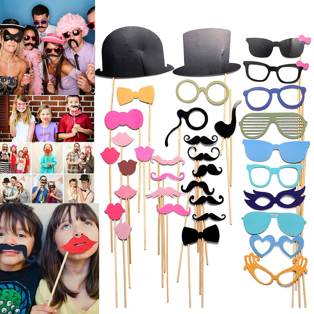 Halloween gift for kids 36PCS New DIY Face Funny Masks Photo Gatsby Props Mustache On A Stick Birthday Christmas Party gift