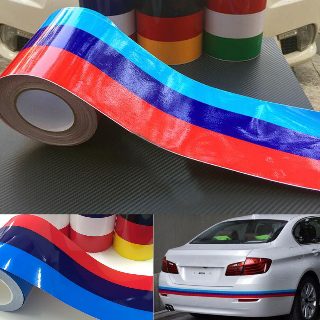 1PC 1M Car Auto M Colored Stripe Body Decal Door Vinyl Sticker For BMW E46 X5 UK in Car Stickers from Automobiles Motorcycles