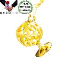 OMHXFC Wholesale European Fashion Woman Man Unisex Party Birthday Wedding Gift Hollow Goblet 24KT Real Gold Charm Pendant PN160(China)