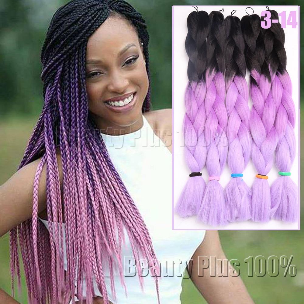"""Fabuleux 3 ton Ombre Couleurs Tressage Cheveux 24 """"Violet/Rose/Bleu Jumbo  YI95"""