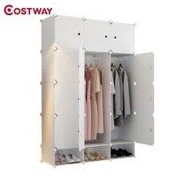 COSTWAY DIY портативный простой складной шкаф собраны смолы пластиковый шкаф для хранения Организатор W0242