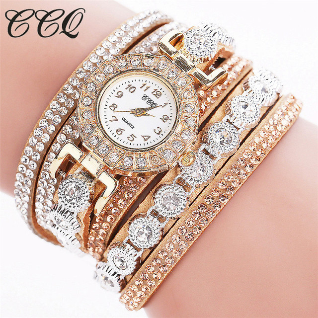 CCQ 2017 women watches Casual Analog Quartz Watch Rhinestone Women Watches Brace
