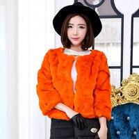 Beautiful lady wave cut natural rabbit fur coat women short design 3/4 sleeve O neck fur jacket outerwear 2018 autumn and winter