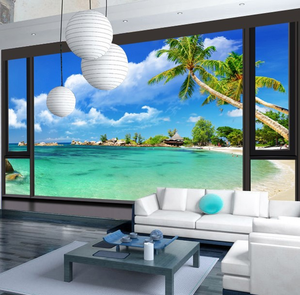 Custom 3d photo wall paper Fashion Fun City Seaview minimalist modern kitchen living room bedroom TV embossed 3d mural wallpaper мужская классическая рубашка fashion city 2015new