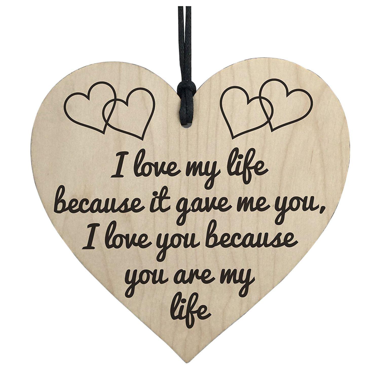 Лидер продаж I Love You ты моя жизнь деревянный висит сердце Юбилей Валентина подарок знак
