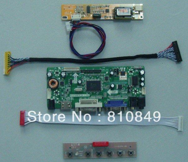 HDMI + VGA + DVI + Audio LCD controlador board trabalho para os Lotes de lcd painel -- DIY monitor LCD
