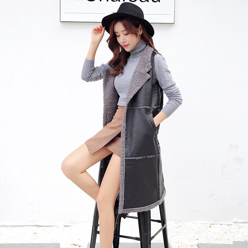 Winter Women Vest Plus Velvet Thick PU Leather Large Lapel Long Vest Jacket Female Patchwork Warm Autumn Waistcoat MZ3101