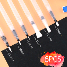 6Pcs Students Portable  Pointed/Flat Tip Water Color Paint Brush Soft Watercolor Painting Brush Pen For Beginner Art Supplies недорого