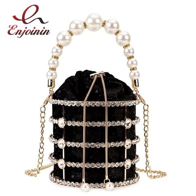 Sac à main de luxe pour femmes, seau en métal avec diamants, poignée de perles, sac de fête avec chaîne bandoulière