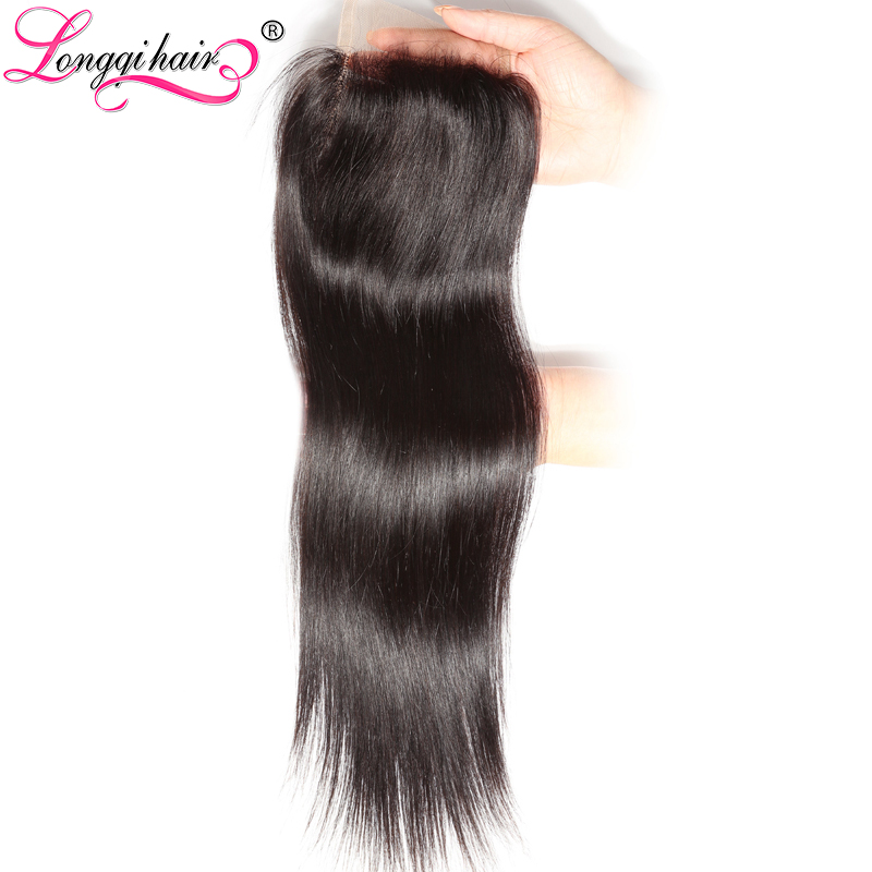 LONGQI HAIR 4x4 Three Middle Free Part Peruvian Straight Lace Closure 120 Density Remy Hair 10