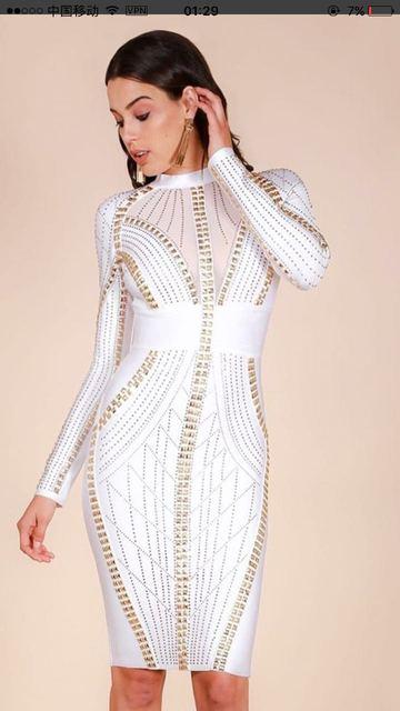 Top Quality Women Sexy Long Sleeve Studded Black White Bandage Dress 2018  Knitted Elegant Designer Dress