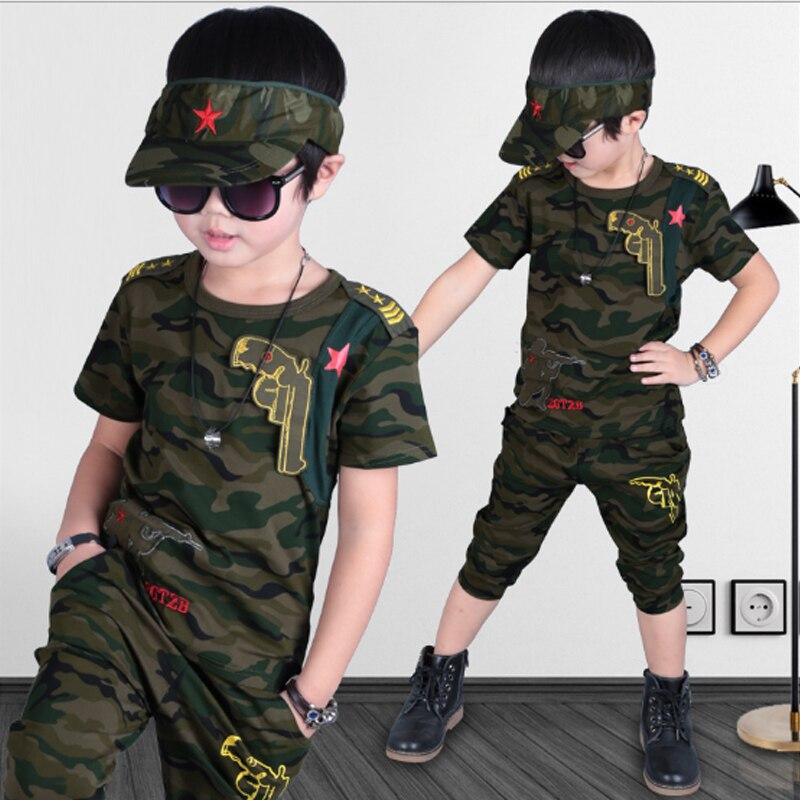 סטי בגדי בני 2018 חולצות הסוואה + מכנסיים בנים ילדים הקיץ מוצק כותנה אופנה סגנון מזדמן חליפת ילדים קובע 3cs050