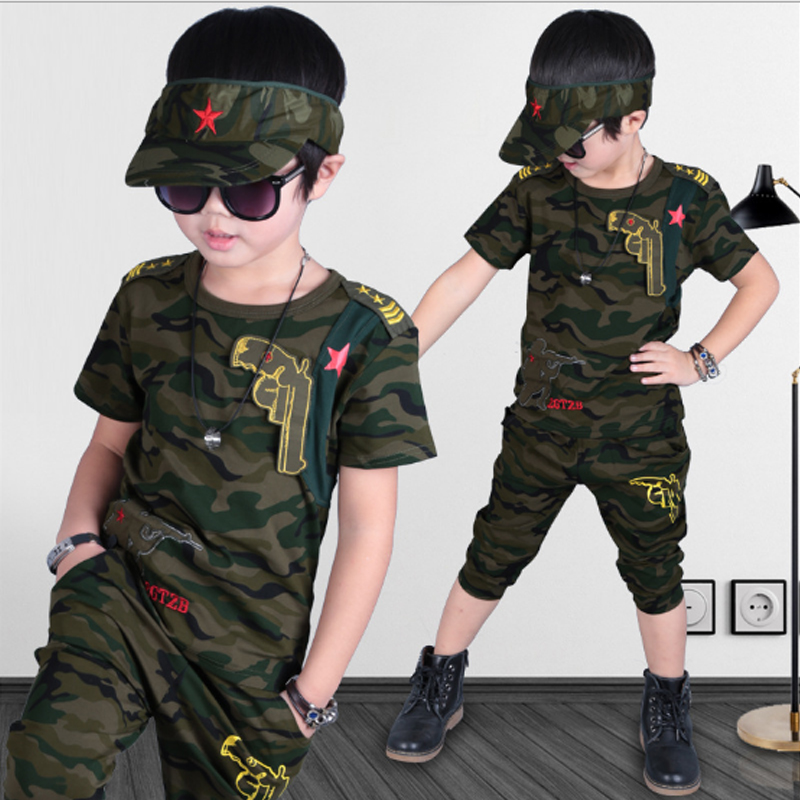 Boys Clothing Sets 2018 Fashion Summer Solid Cotton Camouflage T-shirts + Pants Kids Boys Suit Casual Style Children Sets 3cs050
