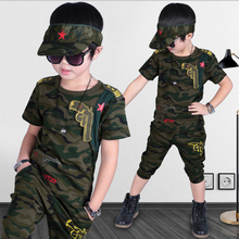 Boys Clothing Sets 2018 Fashion Summer Solid Cotton Camouflage T-shirts + Pants Kids Boys Suit Casual Style Children Sets 3cs050 fashion 2019 children girls spring fall skirt sets solid lace t shirts plaid skirts kids cotton princess clothing sets 3 14yrs