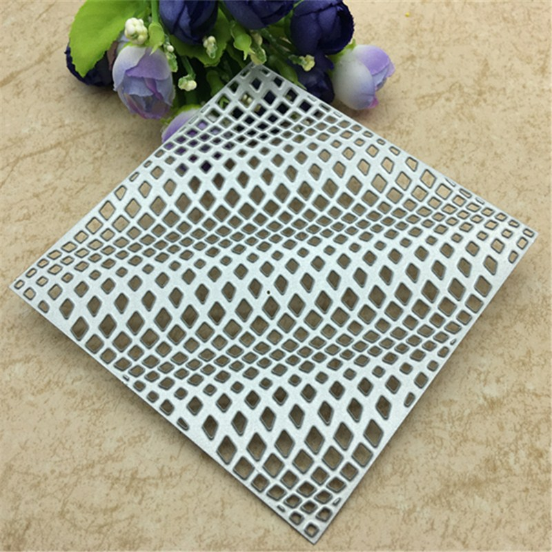 3D Wave Square Frame Metal Cutting Dies Stencil Craft Antique Hollow Out Grid Embossing For DIY Scrapbooking Card Decoration
