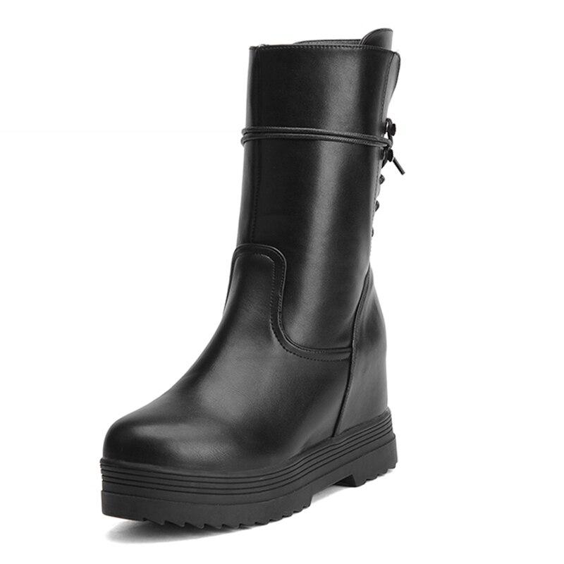 ФОТО Big Size 34-43 2016 Zip Lace Up Charm Short Boots Women Flat Fashion Platform Female Footwear Height Increasing Women Boots
