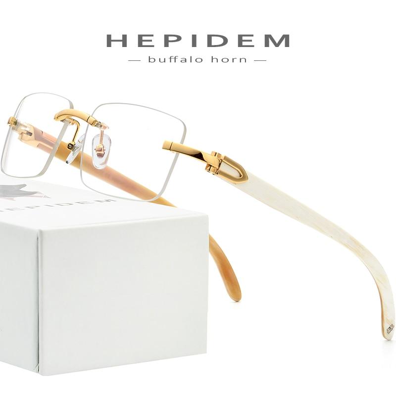 Buffalo Horn lunettes cadre hommes carré de haute qualité femmes sans monture Prescription lunettes 2019 montures optiques lunettes 8100907