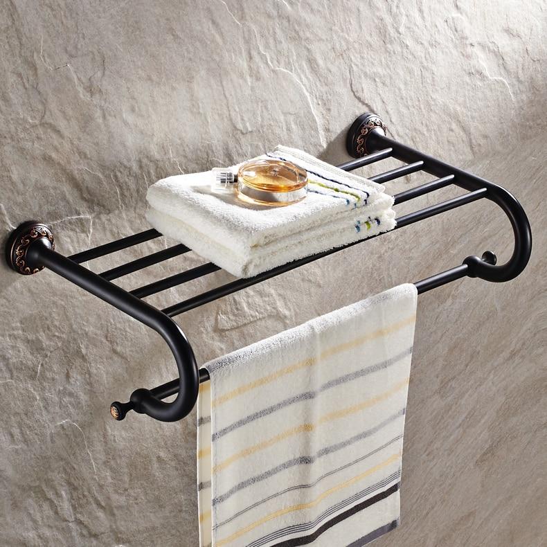 Antique Black Towel Racks Double Layers Unique Anspicious Carved Brass Towel Storage/ Towel Holder Black Bathroom Accessories antique brass double towel bars art carved style papel de parede listrado