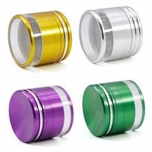 ФОТО new 4 layer aluminium alloy diameter 63mm bronze grinder hookah weed tobacco herb grinder