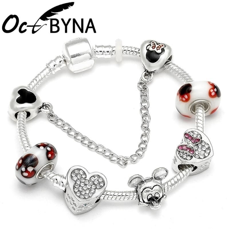 Mickey Mouse Charm Bracelet: OCTBYNA 2019 New Mickey Minnie Mouse Cartoon Charm