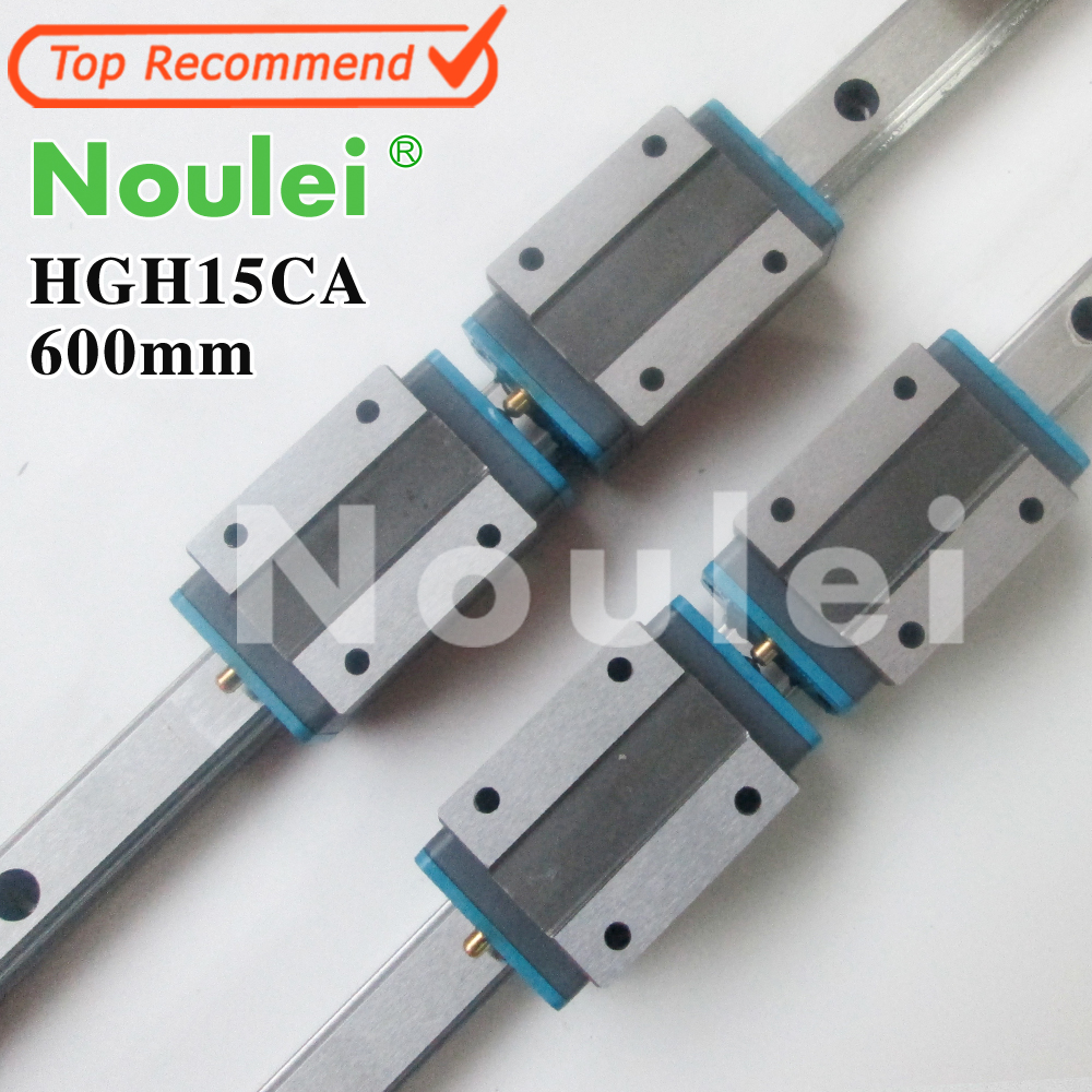 Noulei 2pcs HGR15 CNC Linear Guide Rail 600mm + 4pcs HGH15CA carriage HGH15 linear rail 2pcs hiwin hgr15 300mm linear guide rail 4pcs hgh15 blocks hgh15ca