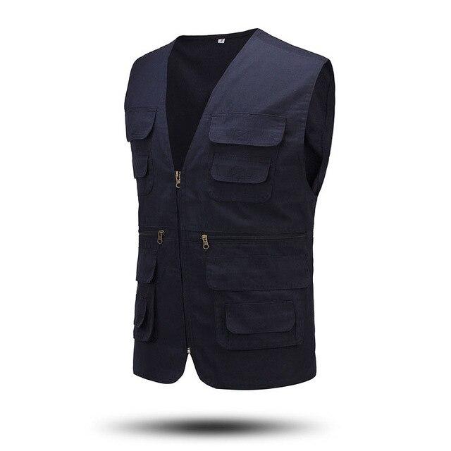 Casual Hommes Blousons Sans Manches Double Breasted Gilet Coton Zipper  Multi Poche Voler Gilet Chalecos Hombre 55d6690efd20