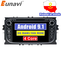 Eunavi 2 Din 7 Android 9.1 Car DVD Player Radio Online Maps GPS Navigation WIFI for Ford focus II Galaxy Transit Tourneo Mondeo