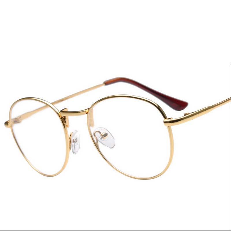 2ab0c44db أعلى أزياء النساء سبائك النظارات إطارات المعدني الكامل إطار نظارات ريترو  جولة شقة مرآة قصر النظر الذكور جديد أزياء