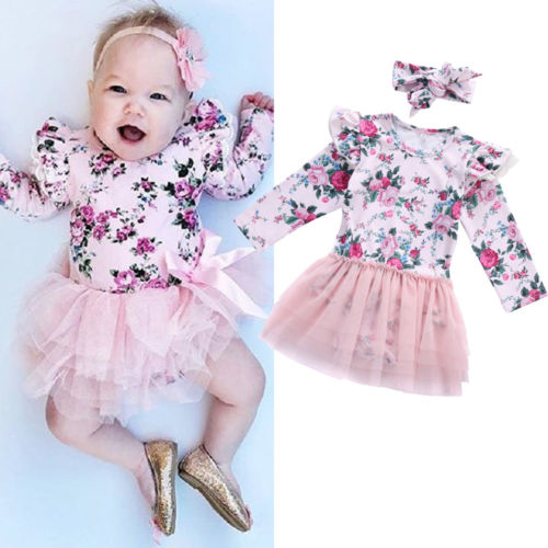 Helen115 Lovely Newborn baby girl clothes Pink Lace Flower Long Sleeve Bodysuit+Headband 0-24M 2017 floral baby romper newborn baby girl clothes ruffles sleeve bodysuit headband 2pcs outfit bebek giyim sunsuit 0 24m