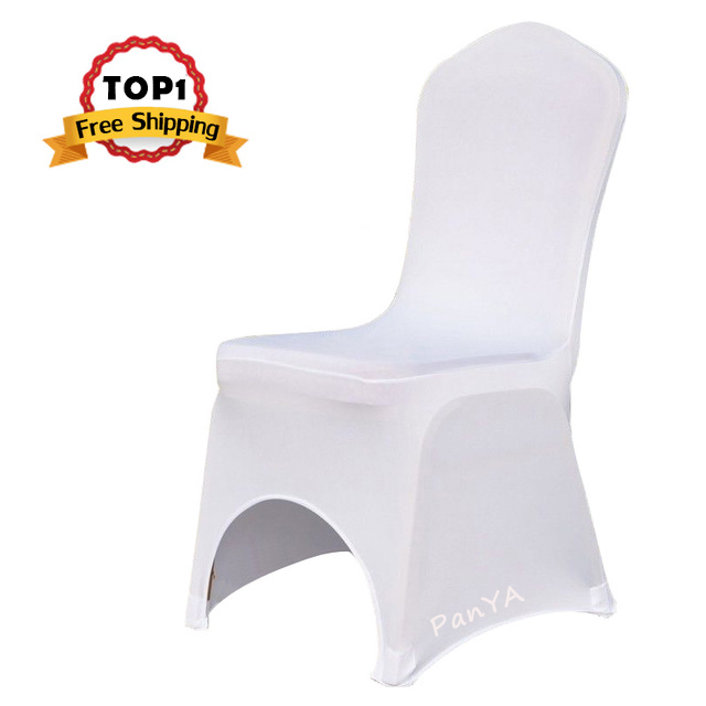 White Polyester Elastic Lycra Stretch Banquet Chair Cover of Wedding Party Event Office Hotel Dining Room