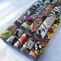 Premium Stickerbomb Vinyl Wrap Sticker Adhesive Removable Glue Cartoon Skull JDM Printed Film Motorcycle Scooter Car Wrap Film