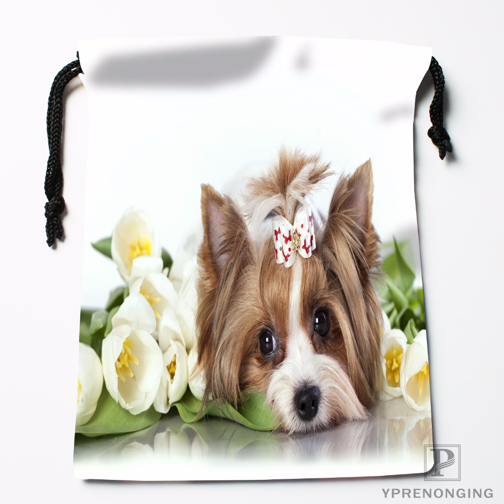 Custom Yorkshire Dog Drawstring Bags Travel Storage Mini Pouch Swim Hiking Toy Bag Size 18x22cm#0412-03-44