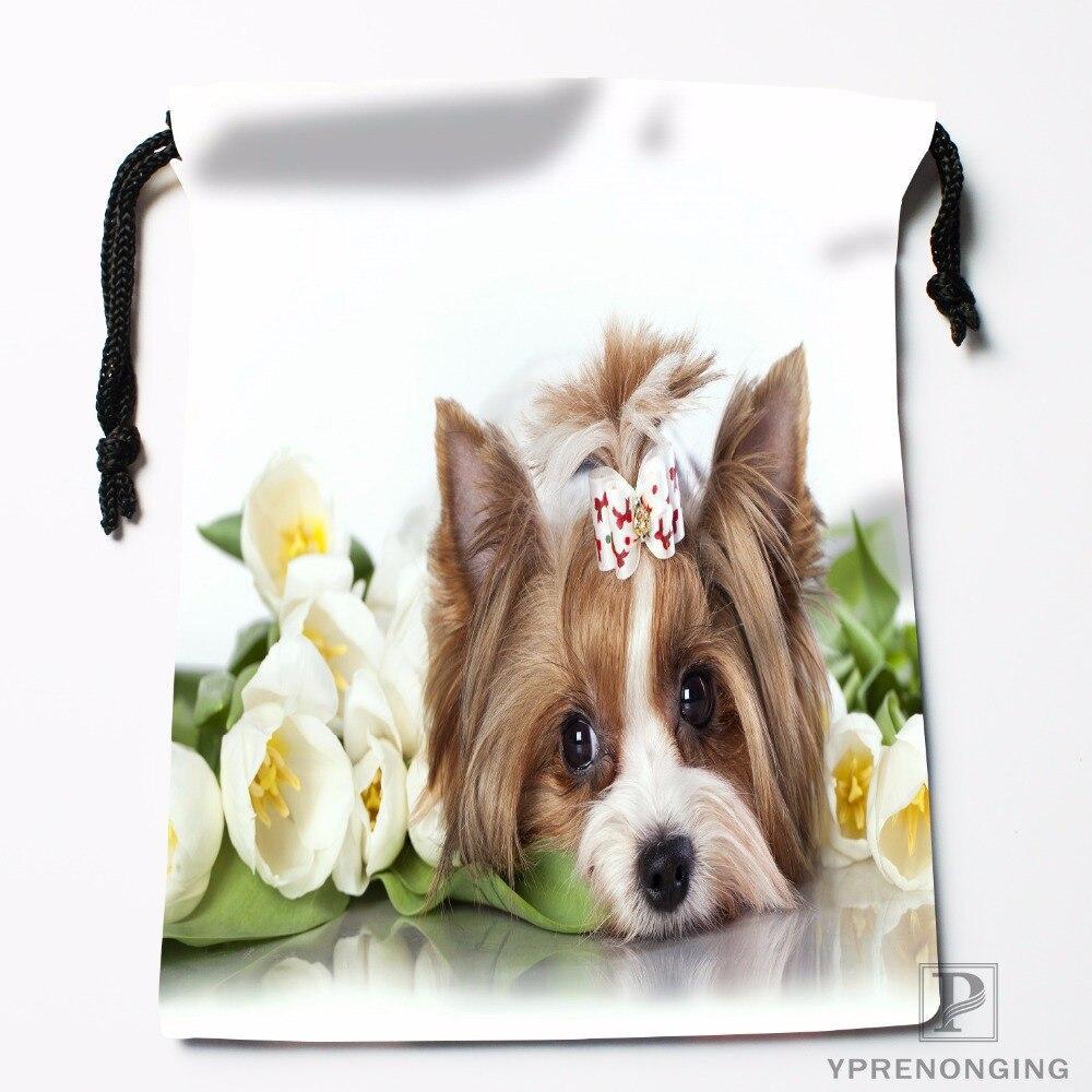 Custom Yorkshire Dog Drawstring Bags Travel Storage Mini Pouch Swim Hiking Toy Bag Size 18x22cm#0412-03-44