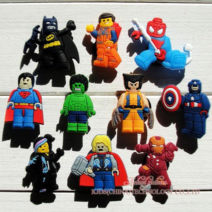 Single Sale 1pc The Avengers Iron Man Captain America Shoe Charms Shoe Accessories DIY Decoration Fit Bands Bracelets Croc JIBZ