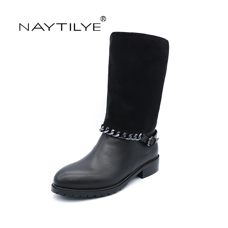 NAYTILYT PU leather shoes woman ankle warm winter boots women square heels zip chain round toe nature wool black size 36-40 hot sale handmade ankle boots black gray full grain leather zip women boots fashion round toe thin heels shoes woman sc16030 09