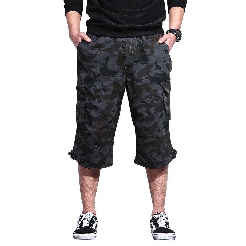Camo Shorts Capris Cargo Multi-Pocket Military Breeches Long Male Mens Summer Plus-Size