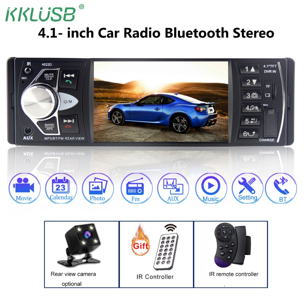 Car Radio Auto Audio Stereo 4.1 inch 1 Din FM Bluetooth 2.0 Support Rear View Camera USB Steering Wheel Control autoradio 4022D(China)