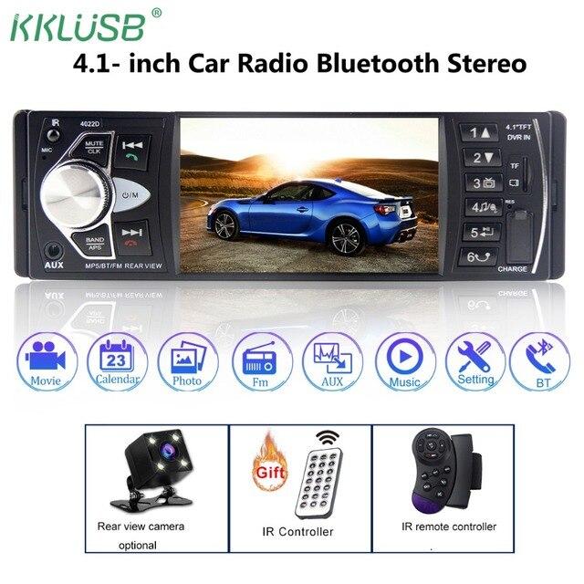 Car Radio Auto Audio Stereo 4.1 inch 1 Din FM Bluetooth 2.0 Support Rear View Camera USB Steering Wheel Control autoradio 4022D